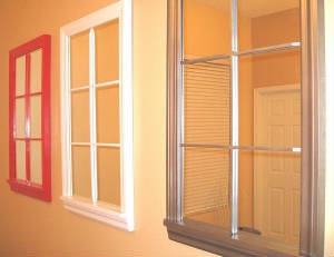 Red, Pewter & White 6 Lite Mirror Windows